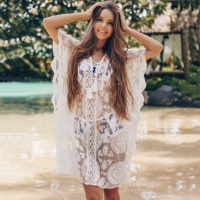 Lace Mesh Eye Embroidered Cover Up