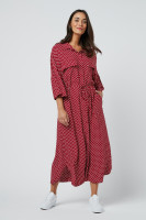 Red Polka Dot Shirt Collar Beach Dress