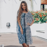 Multi Stripe Bat Sleeve Casual Beach Dress Cover Up