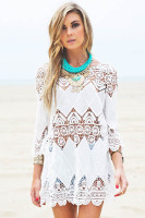 Hollow Patchwork Embroidered Beach Blouse
