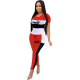 Women Contrast Color Short Sleeve Pants Two Pieces Sweatsuit