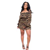 Off Shoulder Leopard Print Mini Club Dress