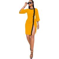 Round Neck Slit Pencil Dress