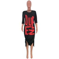 Casual Letter Print 3/4 Sleeve Midi Dress