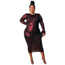Fat Woman Knitted Plus Size Long Sleeve Midi Dress