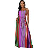 Casual Striped Straps Maxi Dress