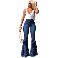 Beaded Washed Wide Leg Jeans