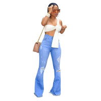 Cotton Ruffled Wide Leg Jeans