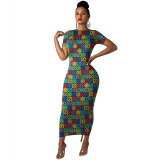 Colorful Short Sleeve Print Maxi Dress