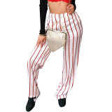 Casual Printed Striped Wide-leg Pants