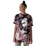 Summer Tie Dye Character Hole Ripped Shirt