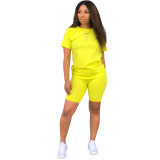 Solid Color Basic Shirt and Tight Shorts