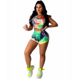 Colorful Printed Letter Tie Dyed Two Piece Set
