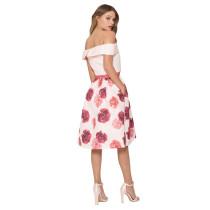 Casual Printed Off Shoulder Midi Dress