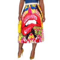 Lip & Letter Print Pleated Skirt
