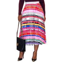 Striped & Letter Print Pleated Skirt