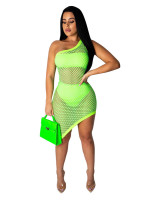 Sexy Fishnet One Shoulder Club Dress with Chest Wrap and Panty