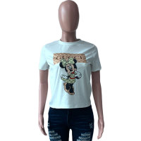 Casual Print Cartoon T-shirt