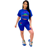 Casual Print Sports Two Piece Short Set