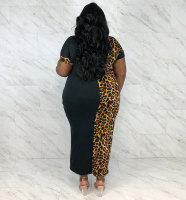 Fat Woman Colorblock Leopard Print Mid Dress