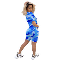 Short Sleeve Camouflage Printed Shorts Set