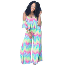 Tie Dye Ruffled Strap Top and Wide Leg Trousers