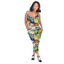 Colorful Cartoon Printed Straps Jumpsuit