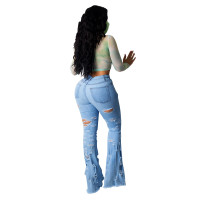 Hole Ripped Flared Jeans