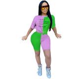 Casual O Neck Contrast Color Shorts Set