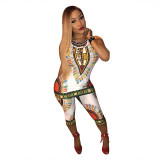 African Totem Ethnic Printed Vest Top and Pant