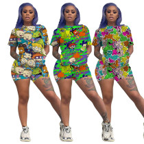 2020 Casual Cartoon Print Two Piece set
