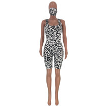 Sling Leopard Print Bodysuit with Face Mask