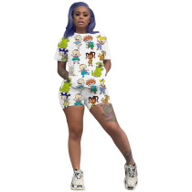 Casual Cartoon Print Two Piece Set