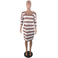 Casual Striped Print Loose Club Dress