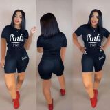 Casual Letter Printed Short Set