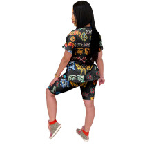 Casual Cartoon Print Shorts Set