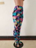 Pleated Split Micro Camouflage Stacked Pants