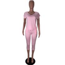 Solid Color V Neck Tops and Three Quarter Pants