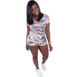 Casual Camouflage Loungewear Shorts Set