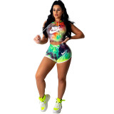 Casual Letter Print Short Sleeve 2 Piece Sports Suit