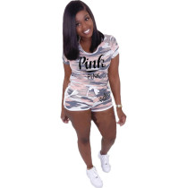 Casual Camouflage Letter Loungewear Shorts Set