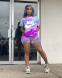 Casual Letter Print Sports Two-Piece Short Set