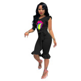 Casual Ruffle Lips Printed Jumpsuit