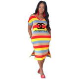 Casual Letter Bronzing Striped Midi Dress