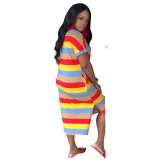 Casual Letter Bronzing Striped Midi Dress