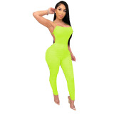 Solid Color Straps Stacked Sexy Jumpsuit