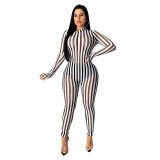 Sexy Striped Printed Perspective Jumpsuit