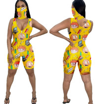 Casual Sleeveless Cartoon Sports Short Romper with face mask