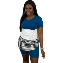 Casual Striped Stitching Tops and Plain Shorts
