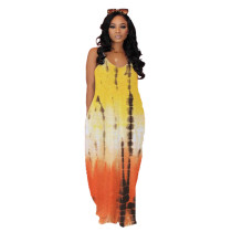 Straps Tie Dye Printed Maxi Dress with Pockets